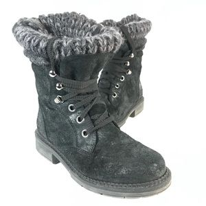 Browns Leather knitted detail boots